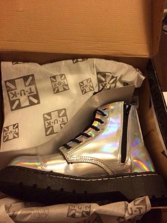 shoes boots silver shiny doc martens combat