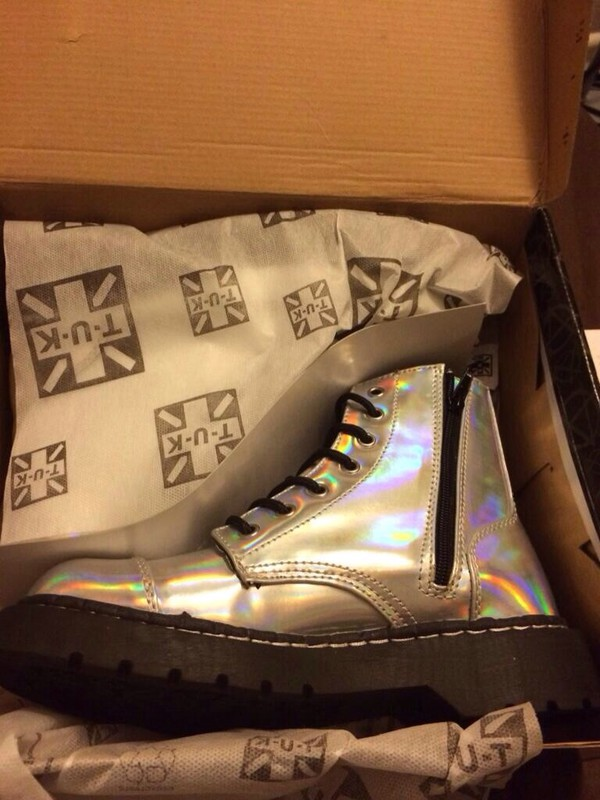 shoes boots silver shiny doc martens combat