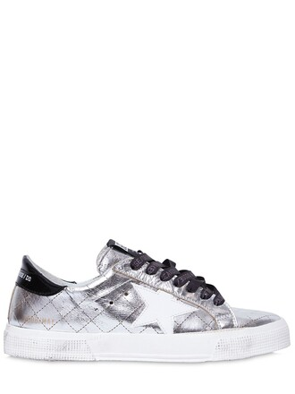 metallic quilted sneakers silver shoes
