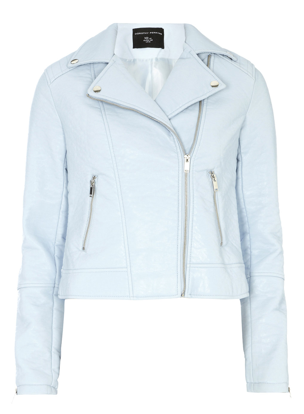 Blue Faux Leather Biker Jacket - Coats & Jackets - View All Sale ...