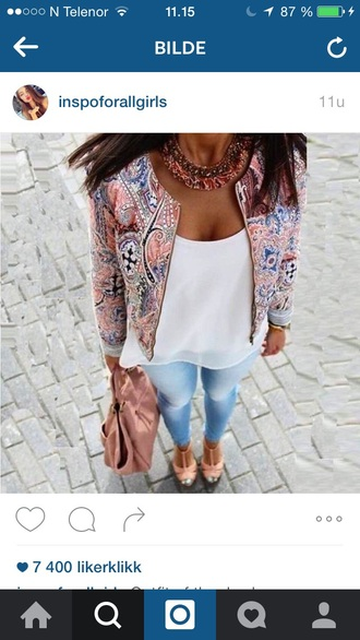 jacket colorful fall outfits summer outfits summer white top denim jeans elegant shoes bag