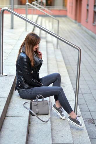 vogue haus blogger jacket jeans shoes bag jewels scarf