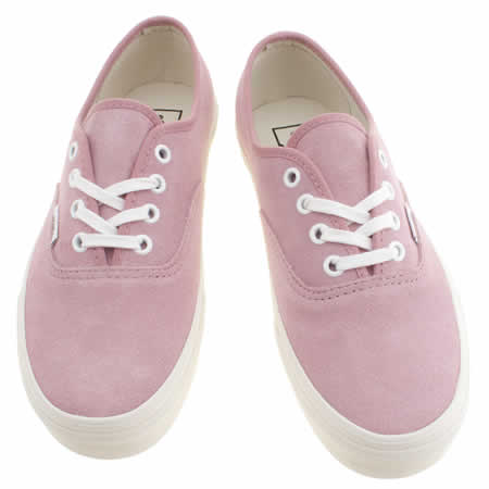 ce2be19f237699 Womens Pale Pink Vans Authentic Suede Trainers