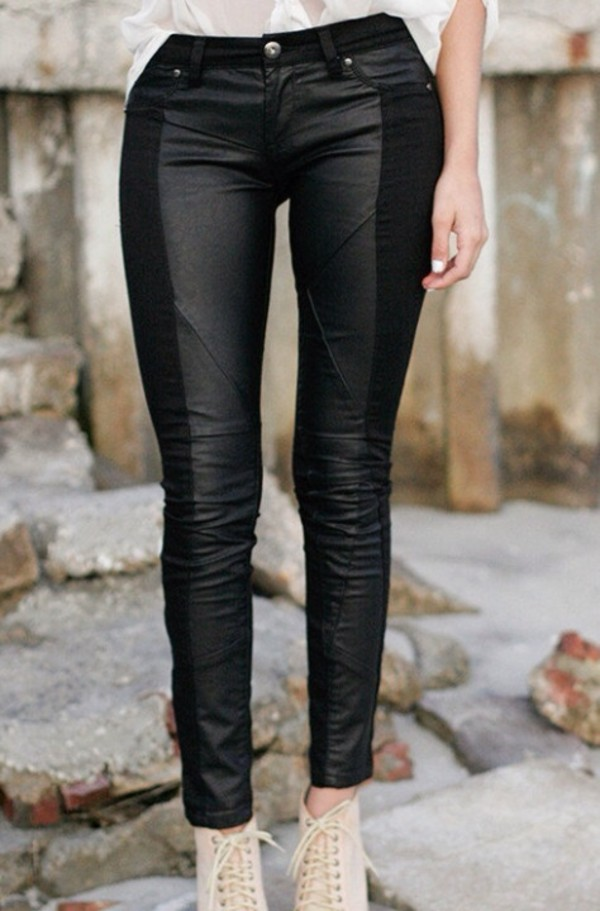 jeans high waisted skinny jeans black leather fake leather pants fake leather panel