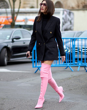 shoes,tumblr,boots,pink boots,over the knee boots,over the knee,blazer,blazer dress,streetstyle,sunglasses