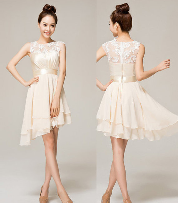 Short Cream Colored Wedding Dresses