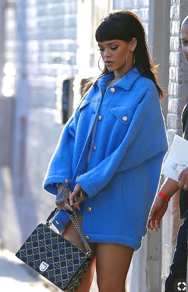 coat rihanna blue