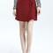 Burgundy bowknot tied front mini skirt