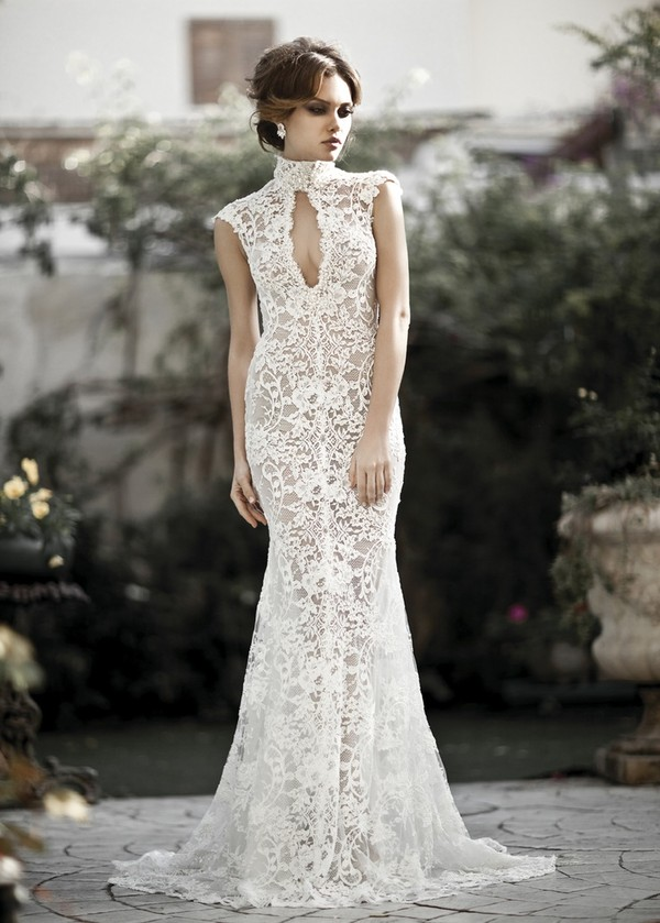 Dress all lace lace wedding keyhole gown ivory for All lace wedding dress