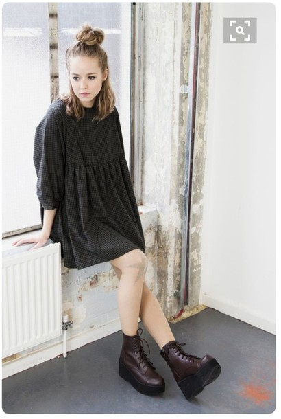 dress black dress boots hipster