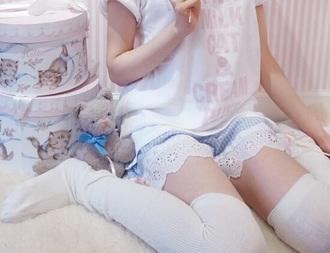 shirt white pink pastel t-shirt shorts kawaii knee high socks white shirt white socks lolita pastel pink