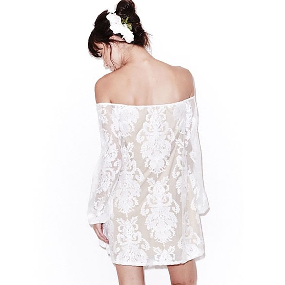 Bohemian Off Shoulder Embroidered Dress