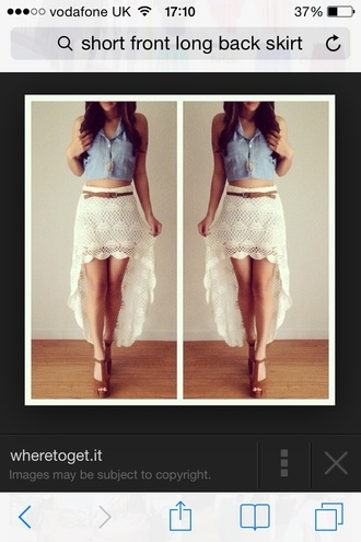 white cute high low fashion skirt knitted shirt cream skirt pretty skirt belt tanned white skirt jean tops jean top brown high heels brown shoes short skirt