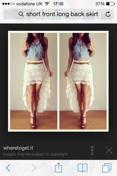 brown shoes skirt brown high heels knitted shirt cream skirt pretty skirt fashion Belt cute tanned white skirts white jean tops jean top short skirt high low