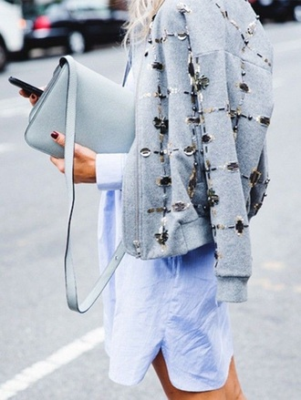 coat jacket bejewelled blue crossbody bag bejewelled jacket embellished jacket crossbody bag shirt dress white shirt dress grey jacket
