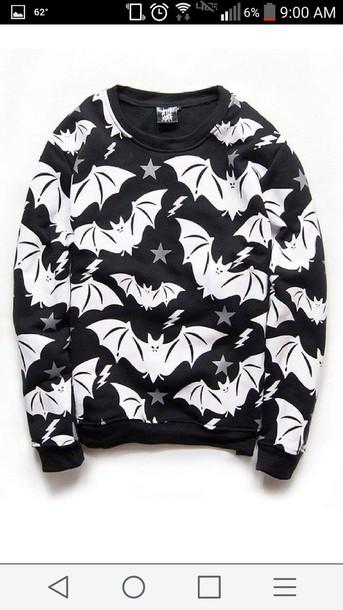 sweater black bats goth gothic sweater black sweater