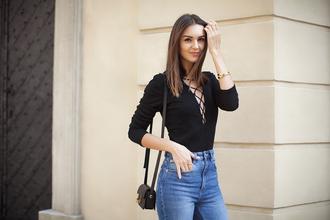 top lace-up bodysuit lace up black bodysuit bodysuit bag black bag mini bag shoulder bag jeans fashion agony blogger