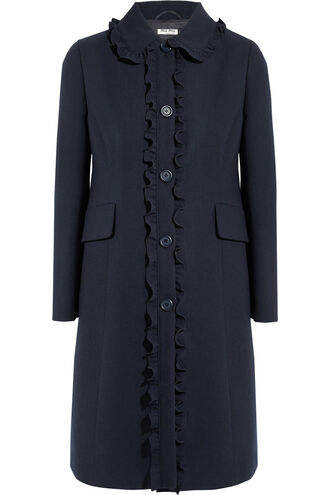 coat ruffle wool navy