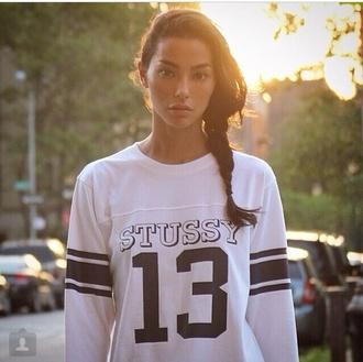 13 stussy white black shirt varsity