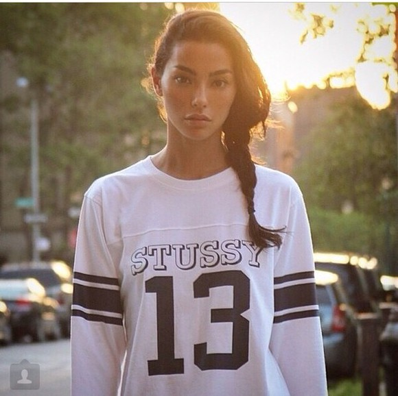 varsity white 13 stussy black shirt