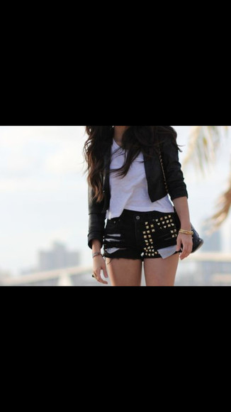 edgy shorts studs leather jacket