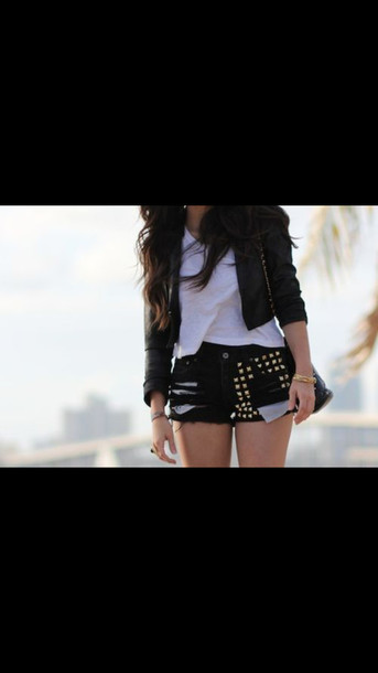 shorts studs edgy jacket shirt