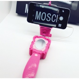 phone cover dress up pretty pink selfie selfie stick mirror moschino