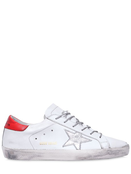 sneakers leather white red shoes