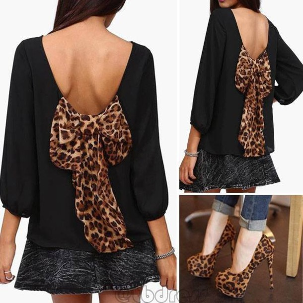 blouse bow shirt animal print leopard print black backless
