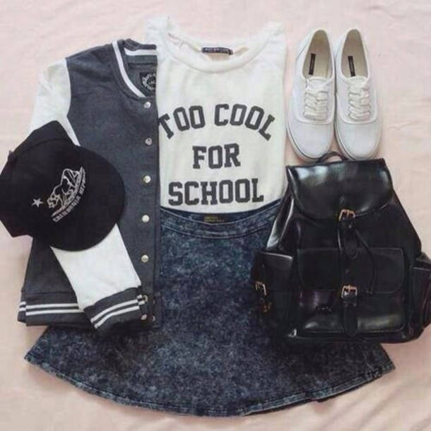 jacket tank top skirt vans cap shirt t-shirt blouse jean skirt bag backpack