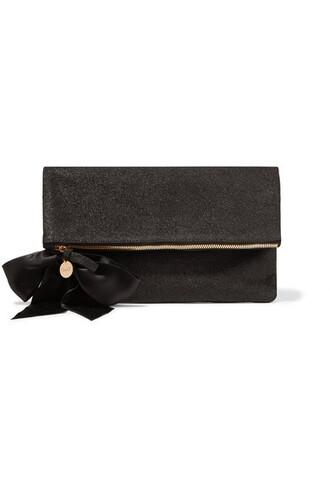 bow embellished clutch suede black bag