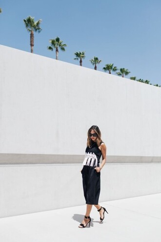 song of style blogger ankle strap heels culottes fringed top embellished top spring outfits black sandals leather culottes black pants leather pants black leather pants fringes black top sandals sandal heels high heel sandals