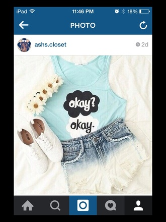 shorts tumblr outfit tfios blue okay? okay. vans sneakers flower headband style summer shorts summer top blouse hair accessory