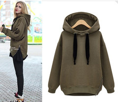 Relaxed temperament thick fleece hooded sweater