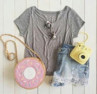 bag donut cute top cute shorts cute bag crop tops love love lovely tumblr outfit tumblr shorts tumblr shirt tumblr top tumblr outfit casual blouse shorts