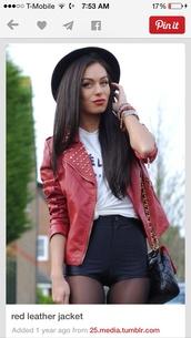 jacket,red,leather jacket,shorts,bag,hat,shirt,jewels