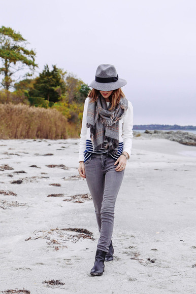 jeans scarf fall outfits blogger stripes prosecco and plaid