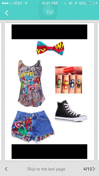 shirt marvel shorts shoes hair accessory