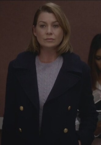 coat grey's anatomy ellen pompeo meredith grey navy double breasted navy coat