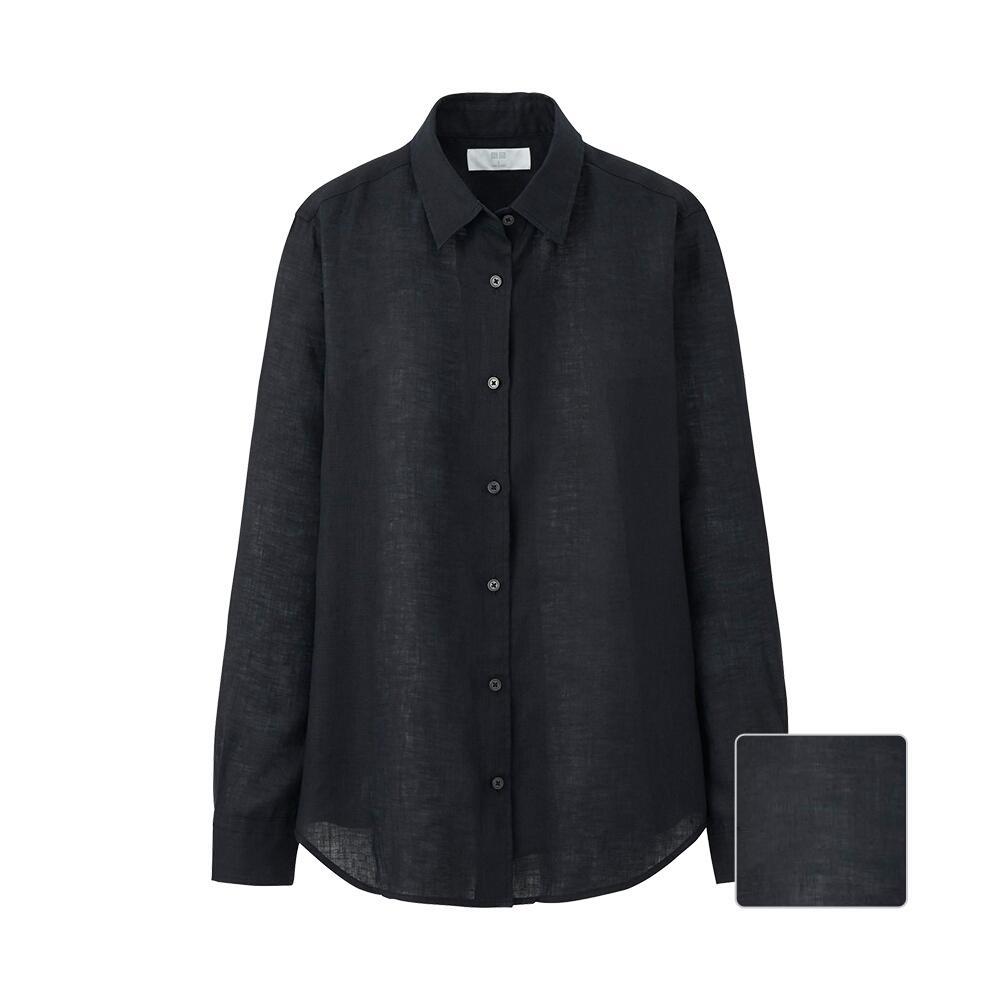 Women premium linen long sleeve shirt uniqlo for Uniqlo premium t shirt
