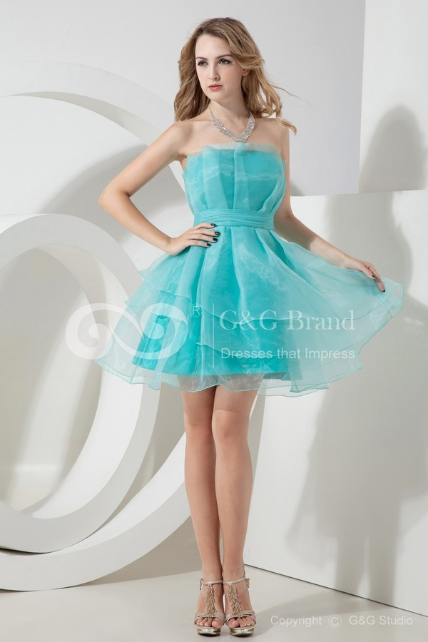 dress aqua blue sky strapless layer tulle skirt cute trendy hot blue dress prom dress