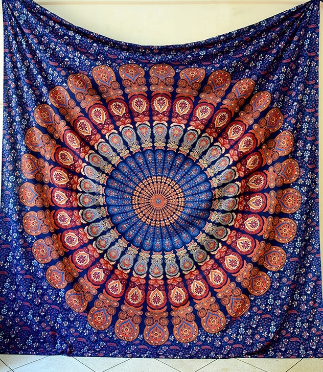 Big Blue Mandala Hippie Tapestry Hippie Wall Hanging