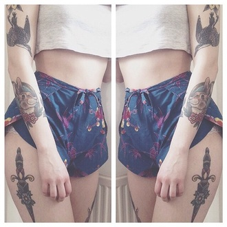 shorts tattoo pattern bird floral shorts