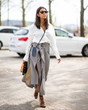 skirt,grey skirt,side split,belt,high waisted skirt,white shirt,long sleeves,crossbody bag,sunglasses,girly wishlist