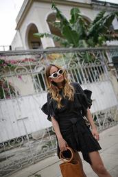 teetharejade,blogger,shoes,simon miller bag,dress,tumblr,mini dress,black dress,ruffle,ruffle dress,asymmetrical,sunglasses,white sunglasses,bag,handbag,suede,suede bag,spring outfits,wrap dress