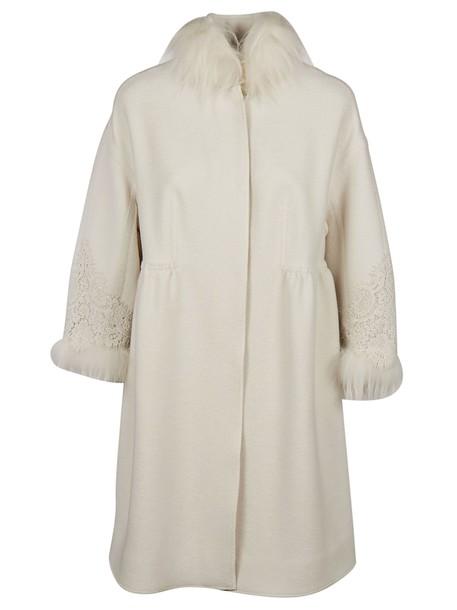 Ermanno Scervino coat fur white