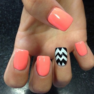 nail polish peach orange white black cheveron