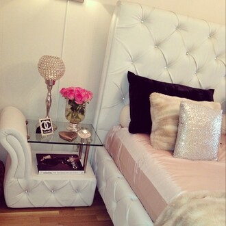 bedroom bedding home decor bed room set side table nightstand tufted rhinestones white white bedding pillow sequins pillow fur pillow