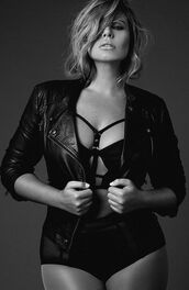 jacket,fiona falkiner,high waisted panties,model,curvy,plus size,leather jacket,black jacket,black panties,panties,bra,plus size underwear