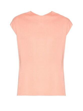 top knit back draped silk pink